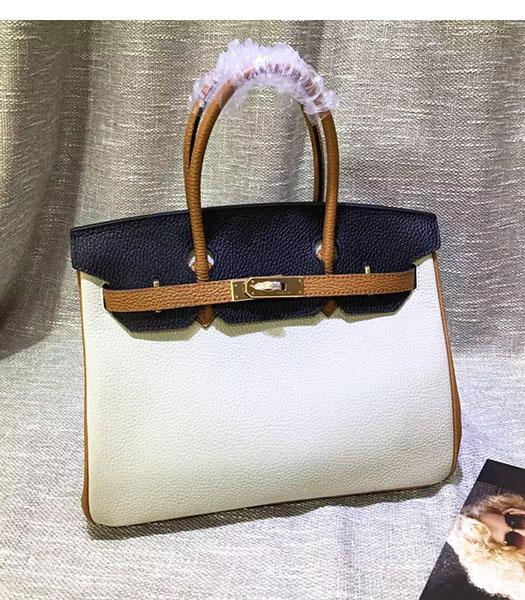 Hermes Birkin 30cm White&Black Mixed Colors Leather Handle Bag