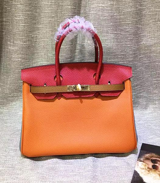 Hermes Birkin 30cm Orange&Red Mixed Colors Leather Handle Bag