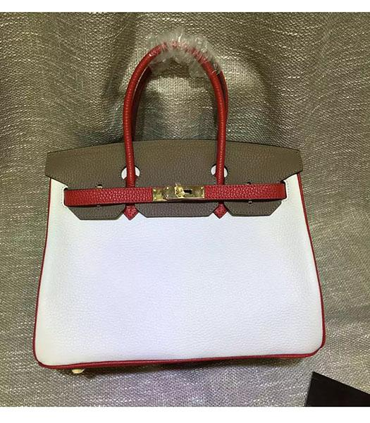 Hermes Birkin 30cm White&Khaki Mixed Colors Leather Handle Bag