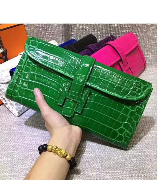 Hermes Croc Veins Green Leather Large Clutch