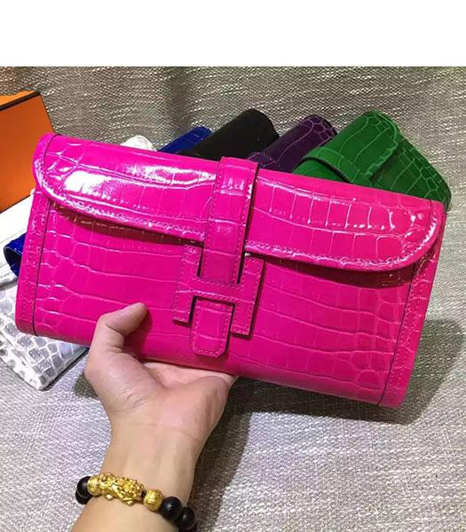 Hermes Croc Veins Rose Red Leather Large Clutch