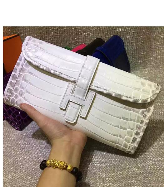 Hermes Croc Veins White Leather Large Clutch