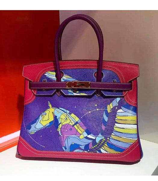 Hermes Birkin 30cm Red&Purple Original Leather Lace Top Handle Bag