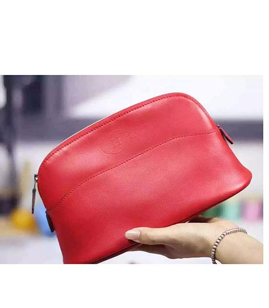 Hermes Swift Leather Zipper Cosmetic Bag Red
