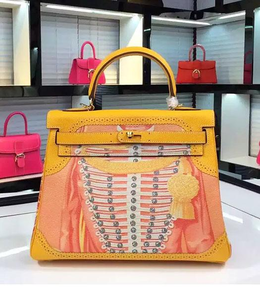 Hermes Kelly 28cm Original Leather Lace Tote Bag Yellow