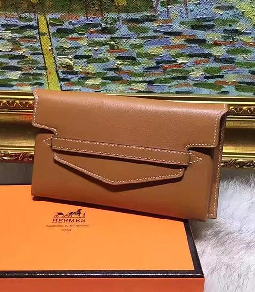 Hermes Latest Style Earth Yellow Leather Casual Wallet