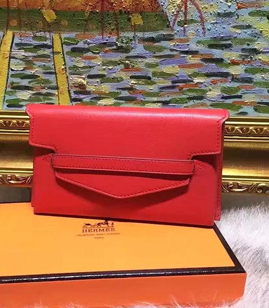 Hermes Latest Style Red Leather Casual Wallet
