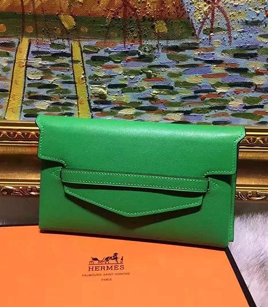 Hermes Latest Style Green Leather Casual Wallet