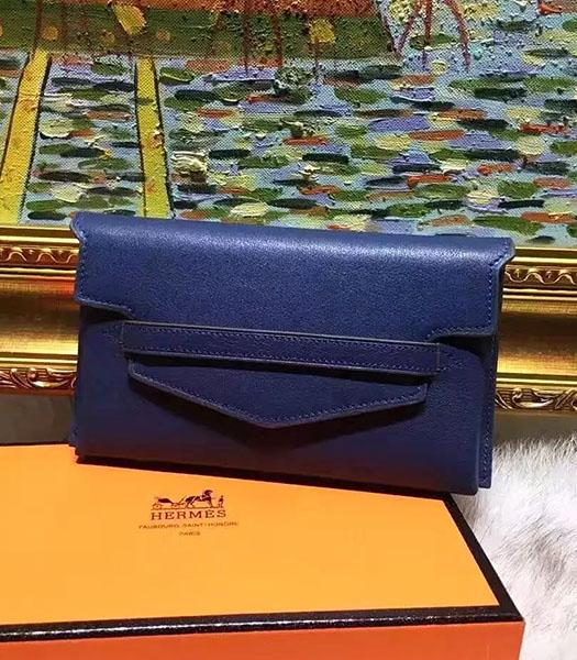 Hermes Latest Style Dark Blue Leather Casual Wallet