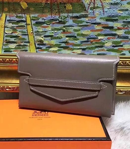 Hermes Latest Style Grey Leather Casual Wallet