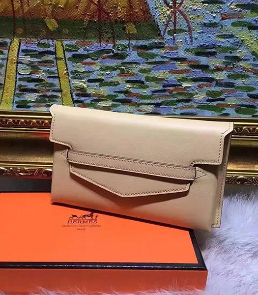 Hermes Latest Style Apricot Leather Casual Wallet