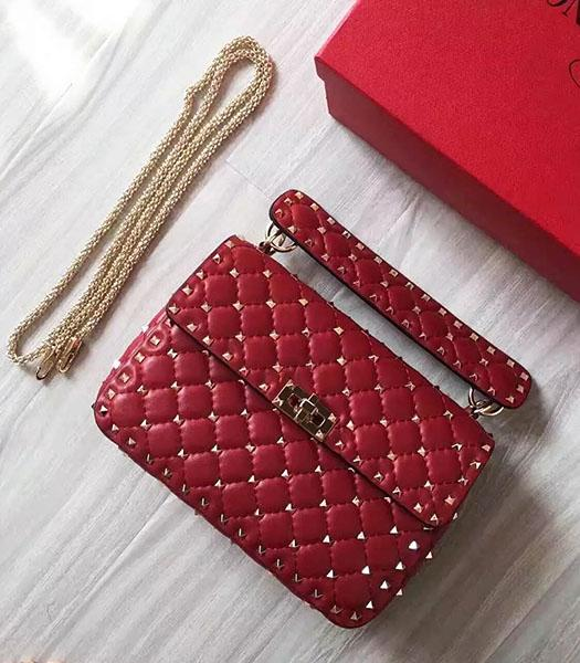 Valentino Golden Rivets Sheepskin Leather 24cm Shoulder Bag Red