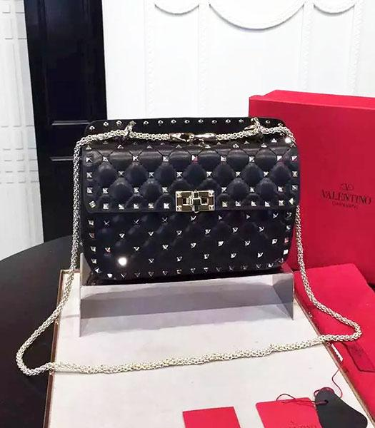 Valentino Golden Rivets Sheepskin Leather 24cm Shoulder Bag Black