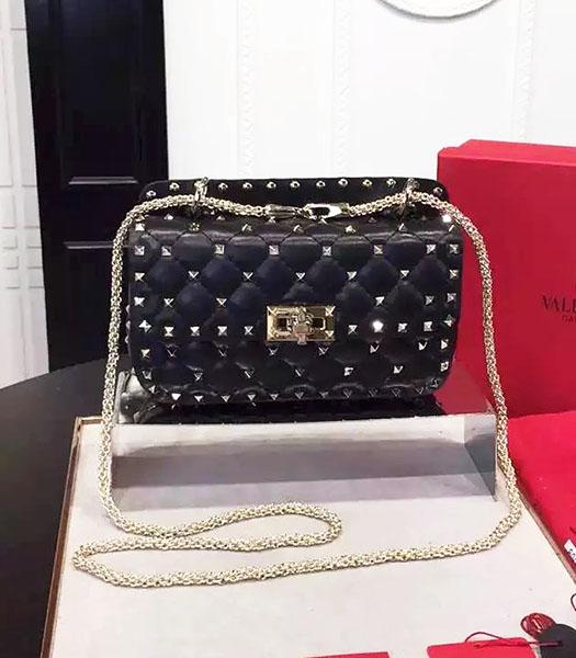 Valentino Golden Rivets Sheepskin Leather 20cm Small Bag Black