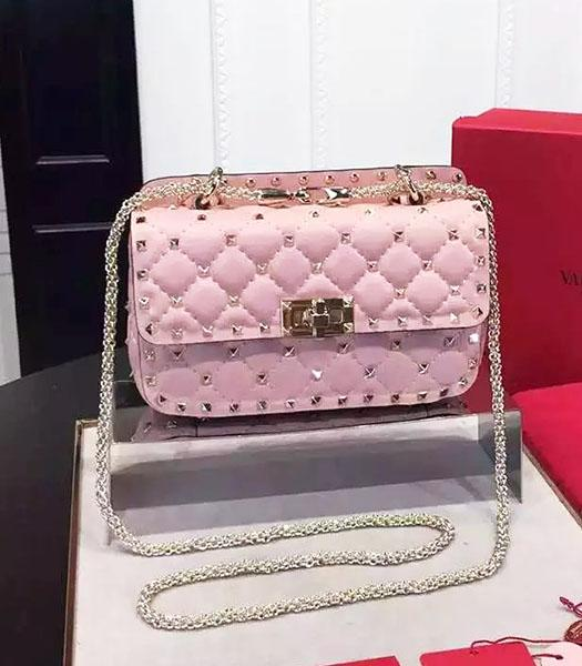 Valentino Golden Rivets Sheepskin Leather 20cm Small Bag Pink