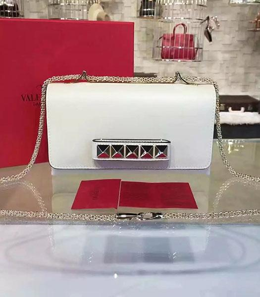 Valentino Rivets Calfskin Leather Golden Chains Bag White