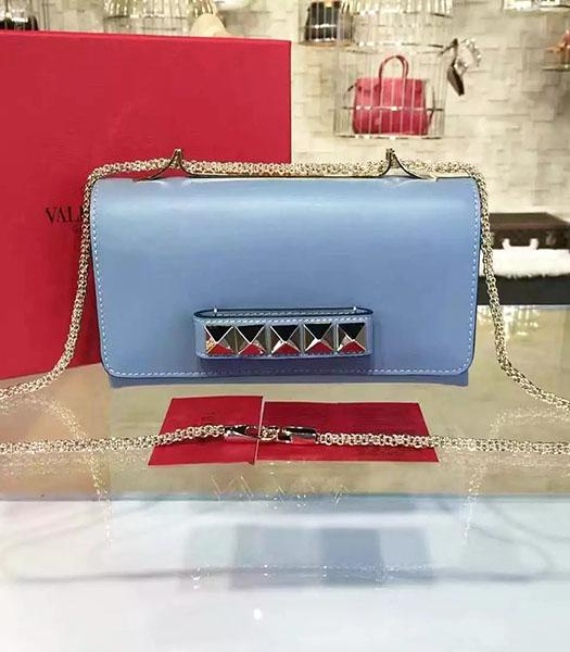 Valentino Rivets Calfskin Leather Golden Chains Bag Blue