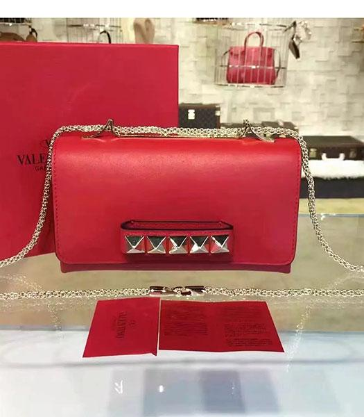 Valentino Rivets Calfskin Leather Golden Chains Bag Red