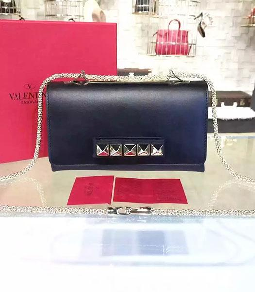 Valentino Rivets Calfskin Leather Golden Chains Bag Black