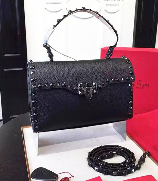 Valentino Black Rivets Jewels Calfskin Leather Tote Bag