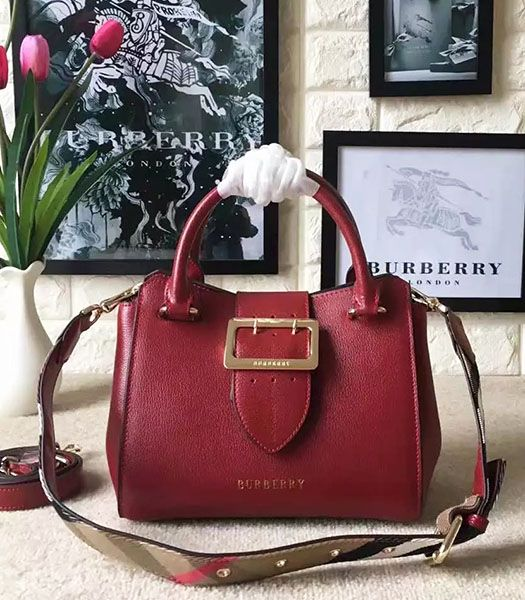 Burberry Imported Calfskin Leather The Buckle Small Tote Bag Red
