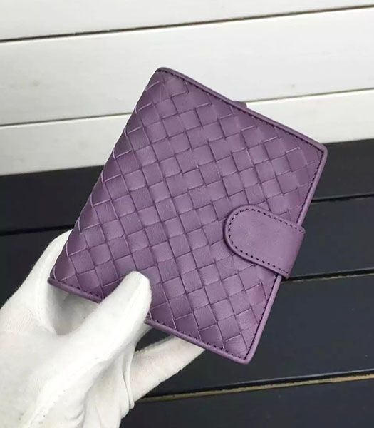 Bottega Veneta Woven Sheepskin Leather Small Wallet Purple