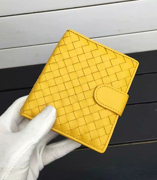Bottega Veneta Woven Sheepskin Leather Small Wallet Yellow