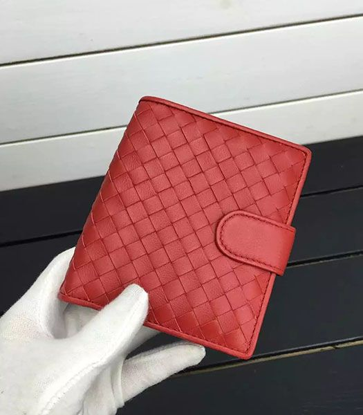 Bottega Veneta Woven Sheepskin Leather Small Wallet Red