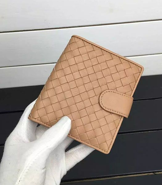 Bottega Veneta Woven Sheepskin Leather Small Wallet Camel