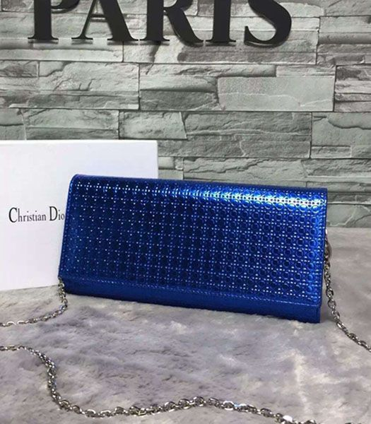 Christian Dior Pearl Sapphire Blue Leather Chains Small Bag