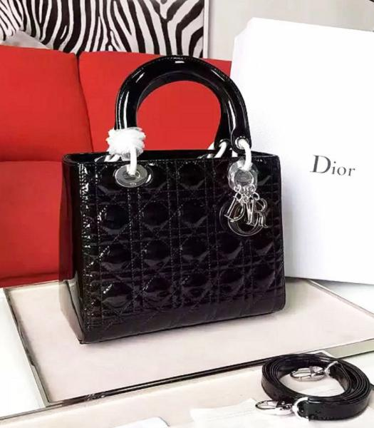 Christian Dior Black Original Patent Leather Tote Bag Silver Metal