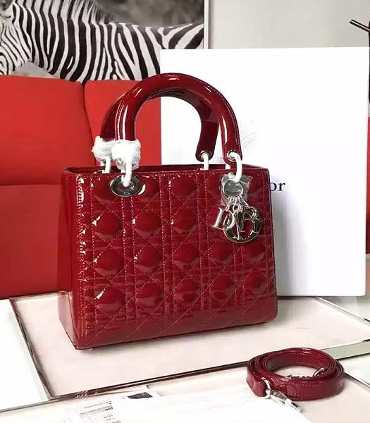 Christian Dior Red Original Patent Leather Tote Bag Silver Metal