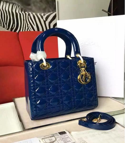 Christian Dior Sapphire Blue Original Patent Leather Tote Bag Golden Metal