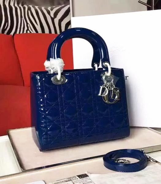 Christian Dior Sapphire Blue Original Patent Leather Tote Bag Silver Metal