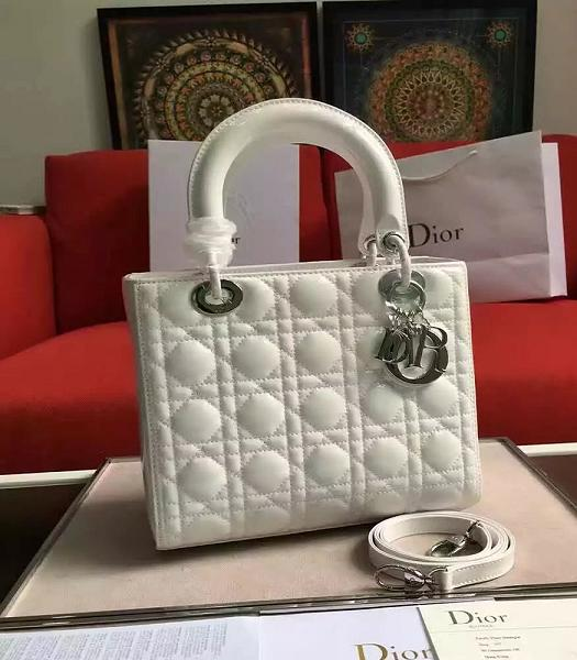 Christian Dior White Original Patent Leather Tote Bag Silver Metal