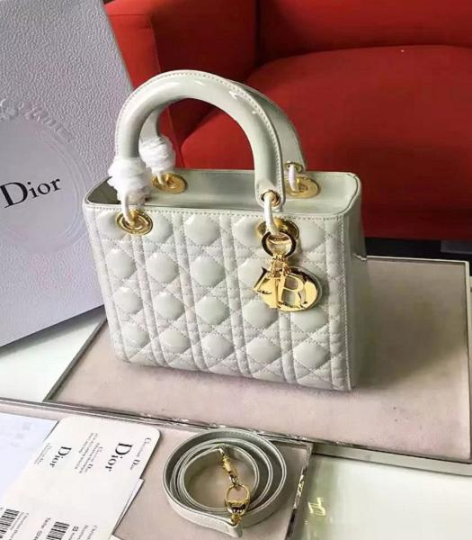 Christian Dior White Original Patent Leather Tote Bag Golden Metal