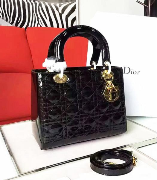 Christian Dior Black Original Patent Leather Tote Bag Golden Metal