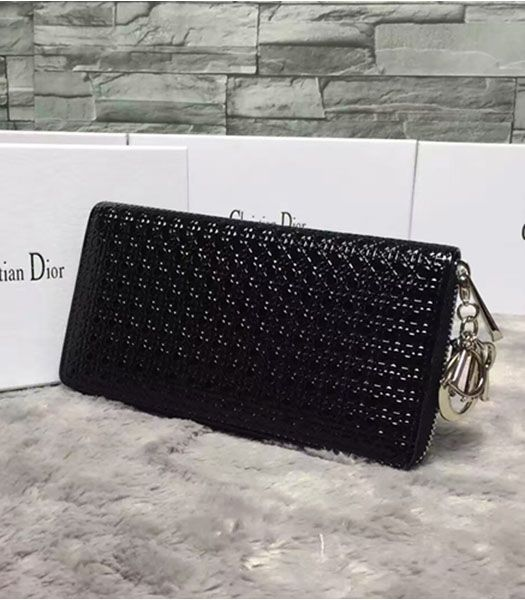 Christian Dior Black Leather Zip Around Wallet