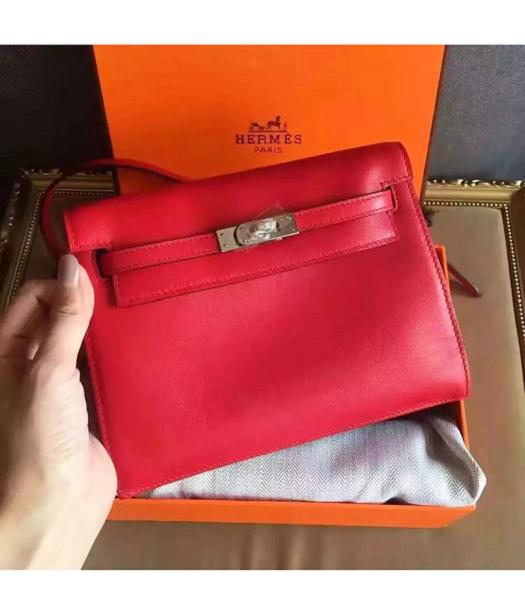 Hermes Kelly Original Swift Leather Shoulder Bag Red