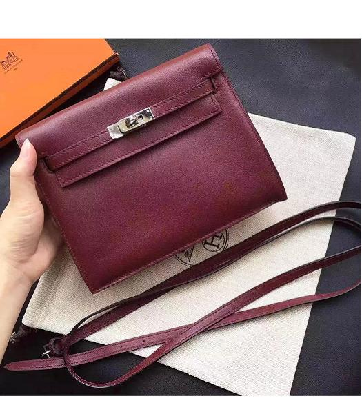 Hermes Kelly Original Swift Leather Shoulder Bag Wine Red