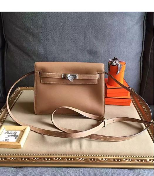 Hermes Kelly Original Swift Leather Shoulder Bag Light Coffee