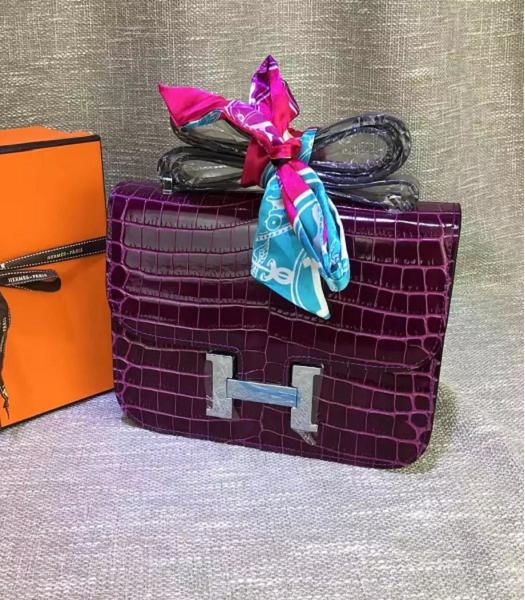 Hermes 23cm Croc Veins Purple Leather Shoulder Bag