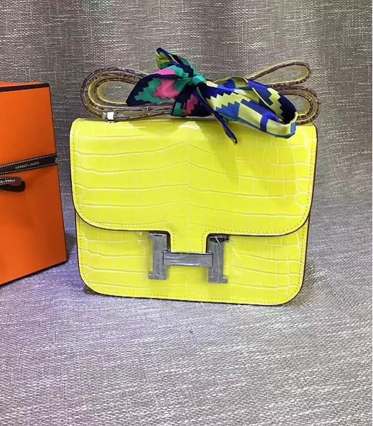 Hermes 23cm Croc Veins Lemon Yellow Leather Shoulder Bag