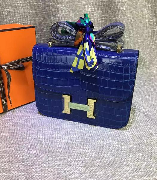 Hermes 23cm Croc Veins Sapphire Blue Leather Shoulder Bag