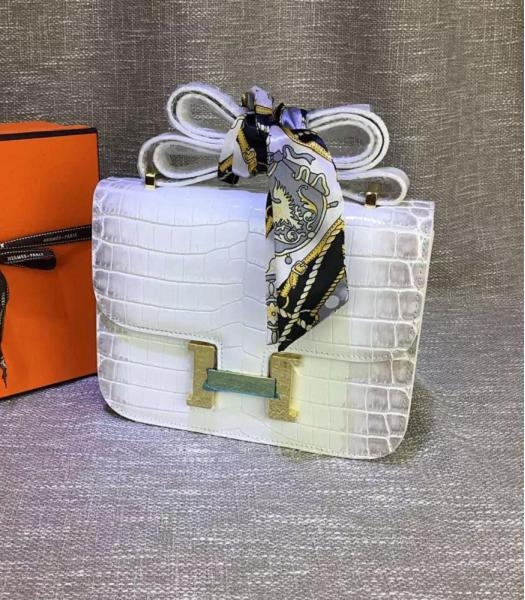 Hermes 23cm Croc Veins White&Grey Leather Shoulder Bag