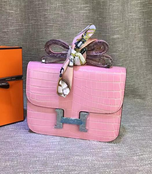 Hermes 23cm Croc Veins Pink Leather Shoulder Bag