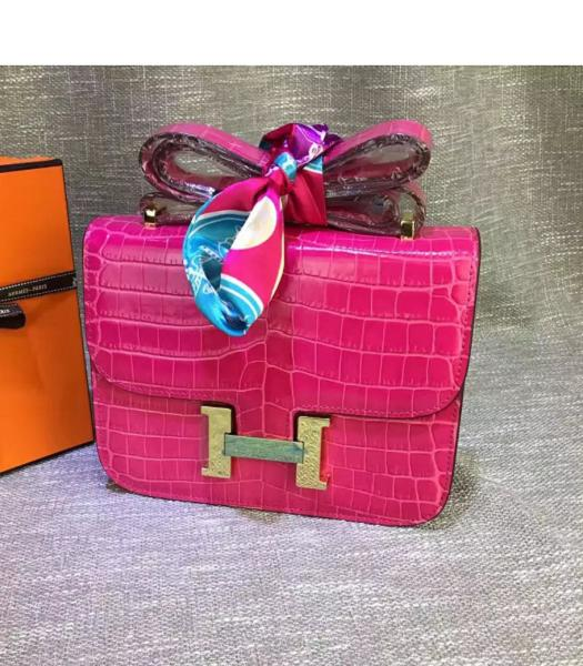 Hermes 23cm Croc Veins Fuchsia Leather Shoulder Bag