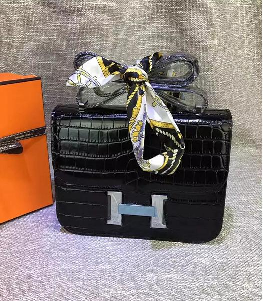 Hermes 23cm Croc Veins Black Leather Shoulder Bag