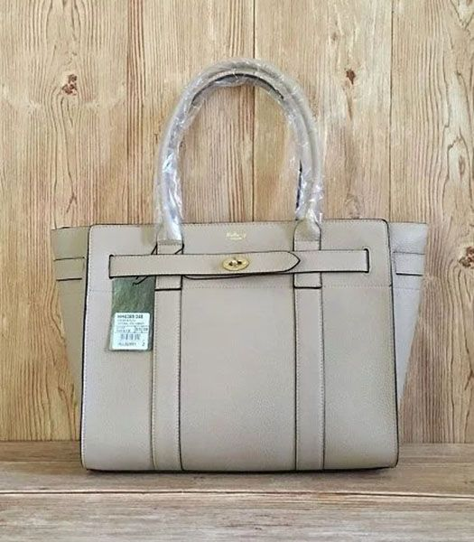 Mulberry Litchi Veins Leather Top Handle Midium Bag Offwhite