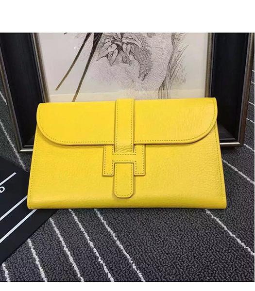 Hermes Togo Leather Wallet in Lemon Yellow